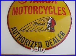 Vtg Antique INDIAN MOTORCYCLE PORCELAIN ADVERTISING DEALER CONVEX OIL SIGN 15.5
