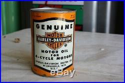Vtg Harley Davidson 4 Cycle Motor Oil Metal Quart Can Milkwaukee Wis USA lot 29