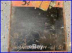 Vtg Original Orange Crush Soda Embossed Tin Sign Nesbitt pop Gas Oil DATED 1935