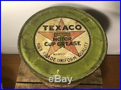 Vtg Rare Texaco Port Arthur 5# Motor Cup Grease Oil Can Scarce The Texas Company