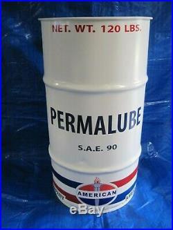 Vtg-Style 16-Gal Oil Drum-Barrel for AMERICAN PermalubeTrash Can/Garage Decor