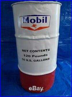 Vtg-Style 16-Gal Oil Drum-Barrel for MOBIL MobilubeTrash Can/Garage Decor