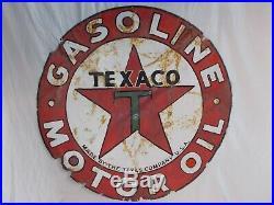 Vtg TEXACO Gasoline & Oil Porcelain Dealer Sign42 DiameterHas a few issues