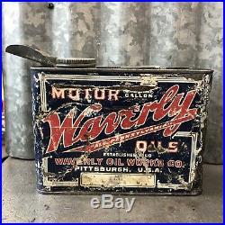 Waverly Motor Oil Can Half Gallon OLD METAL VINTAGE ANTIQUE